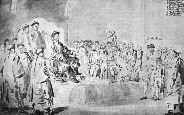 Lord Macartney Embassy To China 1793. Macartney's first meeting with Qianlong. The boy on the right is the eleven-year-old George Staunton who impressed the Emperor with his spoken Chinese (Wikimedia Commons)