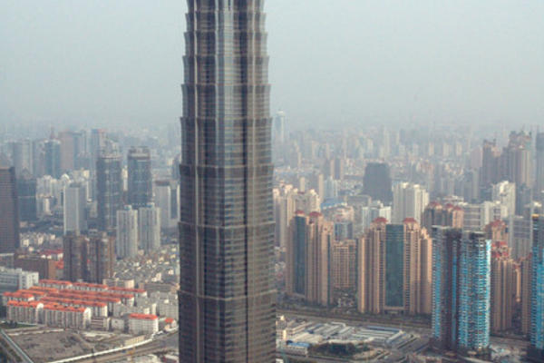 Jin Mao Tower, Shanghai, China. Uploaded by en:User:Billatq for enWikipedia. Credit: Wikimedia Commons