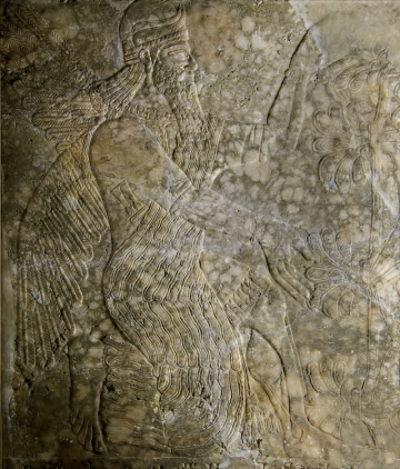 Neo-Assyrian relief from Nimrud Palace, Room I: http://cdli.ucla.edu/projects/nimrud/rooms/i.html
