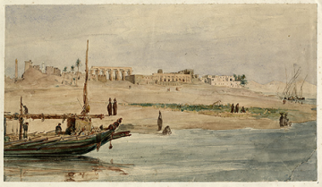 Luxor temple, view from the river, 1838 (Hector Horeau archive, © Griffith Institute)